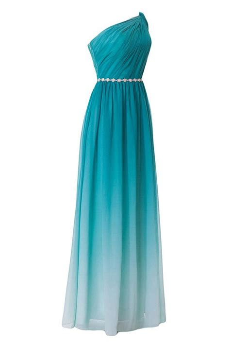 turquoise gradient  shoulder chiffon ruched dress