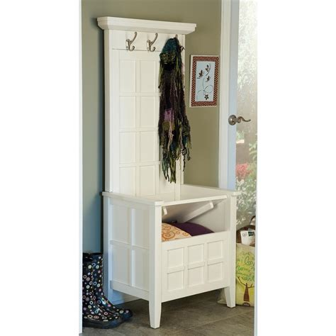 home styles 174 white mini hall tree storage bench 163285