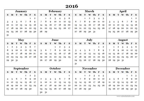 Calendar Templates Free 2016 2016 Yearly Calendar Template 07 Free Printable Templates