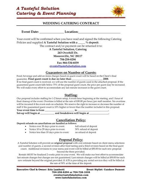 catering pricing template wedding catering contract sample in house