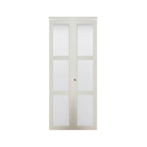 Frosted Interior Doors Home Depot with Truporte Fold 3080 White Composite 3 Lite Tempered Frosted Glass Interior Closet Bi Fold Door
