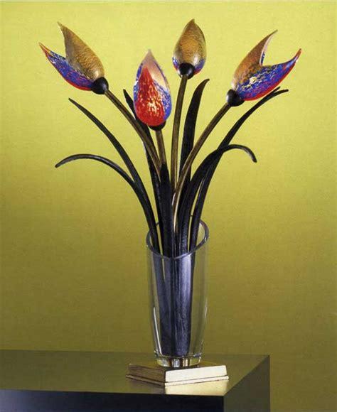 fiori di vetro soffiato lume vaso cristallo steli ferro e ottone fiori vetro