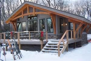Finished exterior of the bristol hills timber frame cottage
