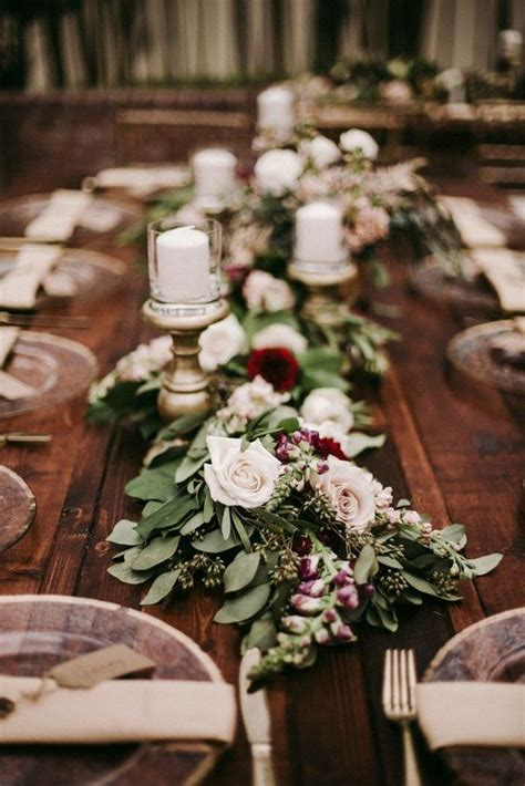 trending  burgundy  blush wedding centerpieces