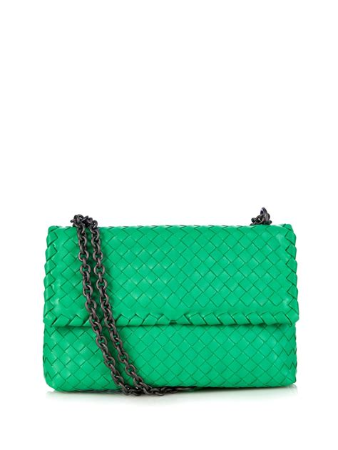 Bottega Venetta Green lyst bottega veneta olimpia small intrecciato leather shoulder bag in green