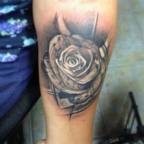 rose with music notes tattoo notes and tattoos