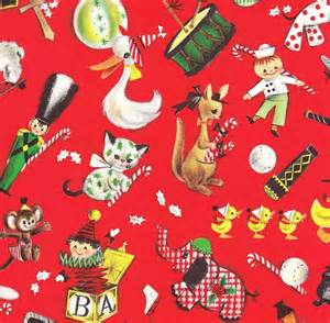 vintage christmas gift wrap ambassador toy parade
