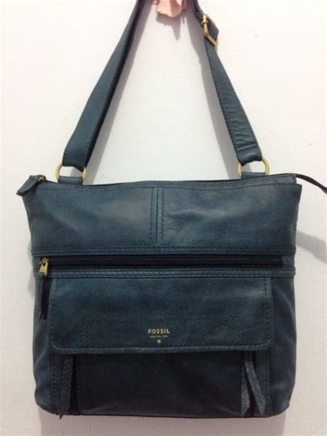 Tas Fossil Satchel Blue Print Ori Original Authentic fossil stanton herritage blue nwt sold menjual branded things brand new or 99 new