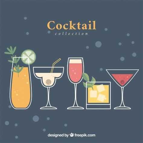 cocktails background vintage background with cocktails in flat design vector