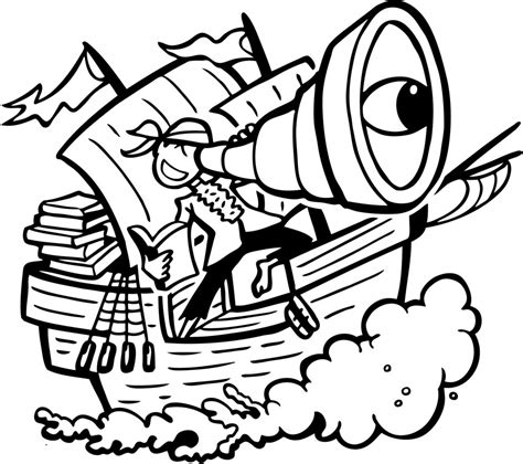 coloring book free vector clipart of a black and white pirate ship royalty free