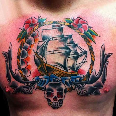 old school tattoos designs men chest designs for and