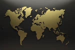 Gold world map wallpaper wall decor