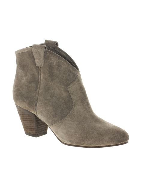 ash jalouse leather mid heel ankle boots in lyst