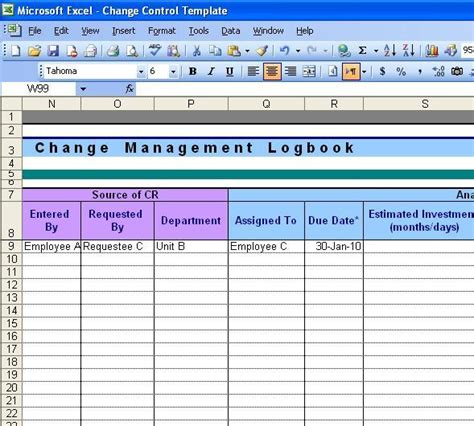 change log template images