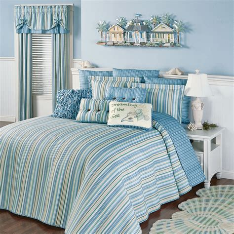 costal bedding clearwater coastal striped oversized bedspread