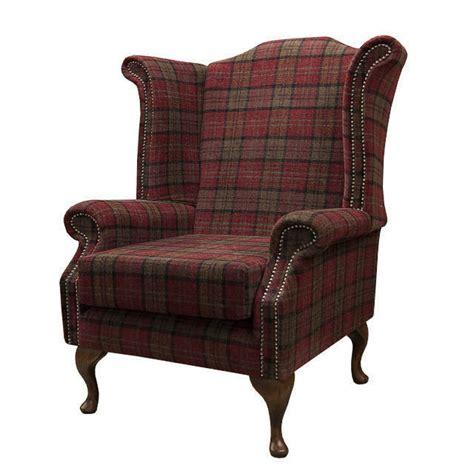 tartan wingback chair armchair in a green tartan fabric ebay