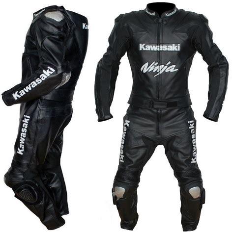 Motorrad Anzug by Kawasaki Black Leather Suit Motorbike Leather Suit