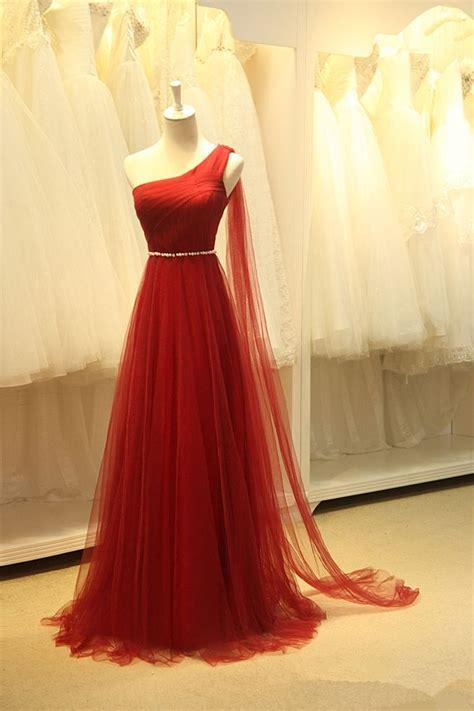 Handmade Prom Dress - charming wine handmade one shoulder prom dresses prom