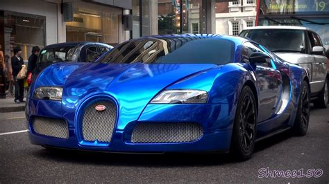 Blue Bugatti Blue Chrome Bugatti Veyron Centenaire Driving In
