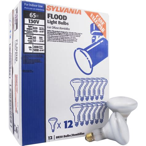 dimmable incandescent light bulbs shop sylvania 12 pack 65 watt dimmable white br30