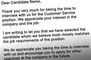 Thank You Letter After Interview But Didn T Get The Job Free Business Rejection Letters 171 Free Business