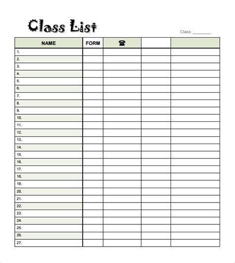 free class list templates for teachers blank checklist template 9 free document in