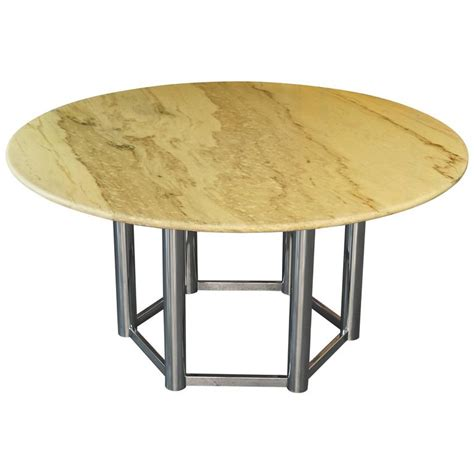 Marble Base Dining Table Large Vintage 1970s Italian Marble Dining Table With Chrome Base For Sale At 1stdibs