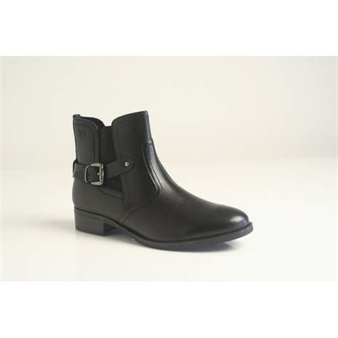 caprice caprice black leather zip up ankle boot with