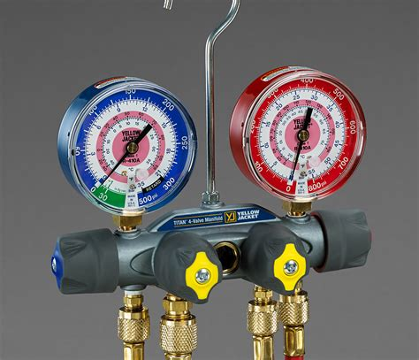Testing Manifold Ac titan 4 valve test and charging manifold 176 f and 176 c yellow jacket hvac supplies and products