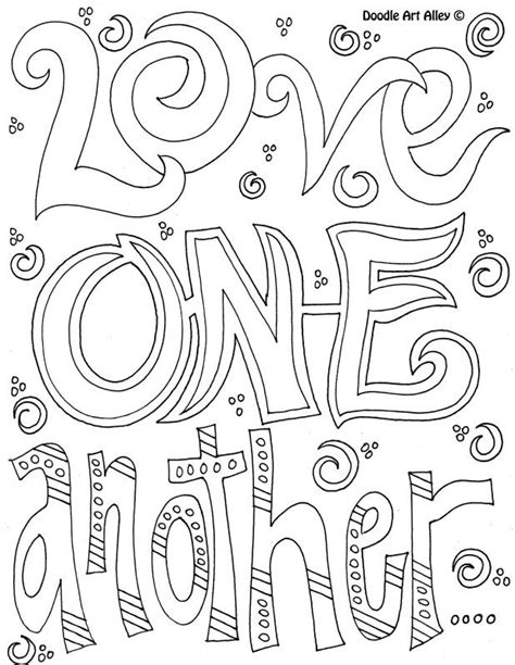 free doodle words coloring page one another coloring pages words