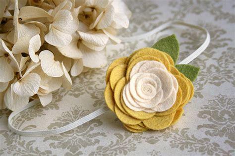 large felt flower headband for baby mellow yellow ivory