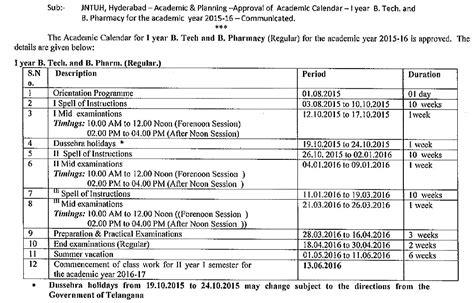 Mba R15 Syllabus Jntuh by Jntuh B Tech B Phar 1st Year R13 Academic Calendar For