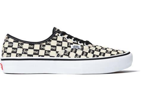 Vans Authentic Checkerboard X Supreme White vans authentic supreme black checker logo