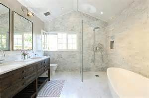 Open Shower Bathroom Open Shower With Marble Quatrefoil Tiles Transitional Bathroom