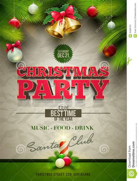 christmas party poster stock image image 35066791