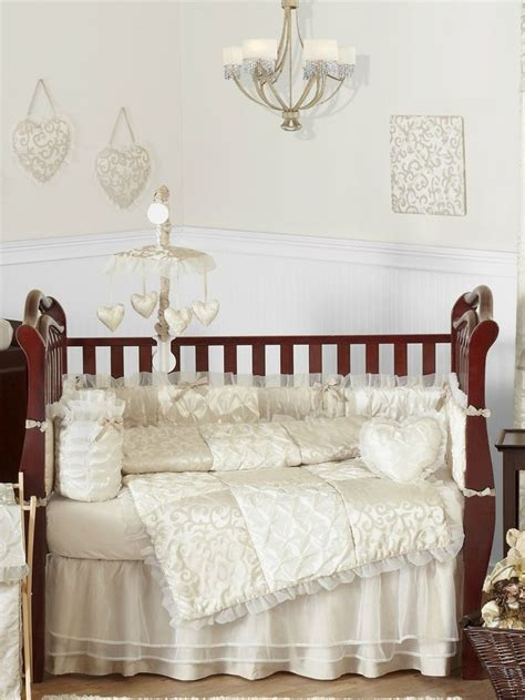 beautiful victorian ivory  champagne baby bedding