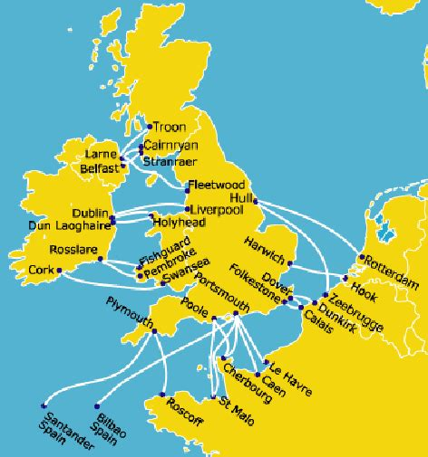 map uk ferry routes ferry travel