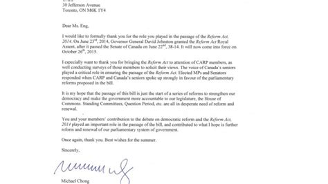 Thank You Letter Shadow Michael Chong To Carp Members Thank You For Your Help Carp