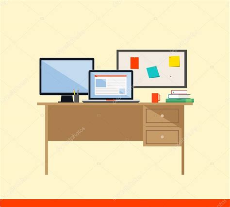 flat computer desk flat design vector illustration of modern workspace