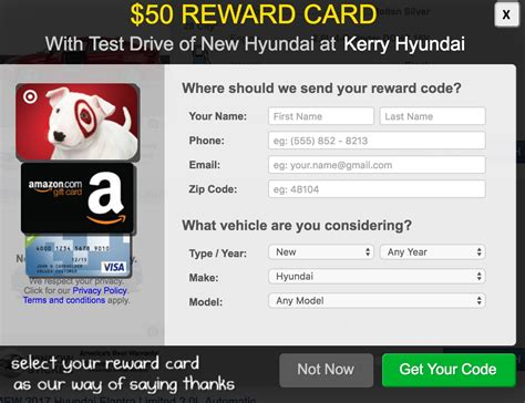 Test Drive Car Gift Card - 50 visa or other gift card for a hyundai test drive points with a crew