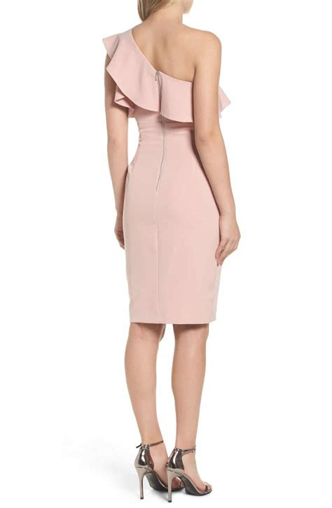 Shoulder Sheath Ruffle Dress bardot one shoulder ruffle sheath pastel dress we select