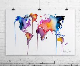 Watercolor World Map by World Map Art Print Colorful Watercolor Painting Fine