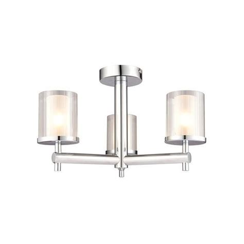 Endon Bathroom Lights Endon Lighting Britton 3 Light Semi Flush Bathroom Ceiling Fitting In Polished Chrome Finish