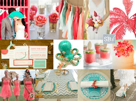 mint green coral wedding tropical coral mint inspiration board