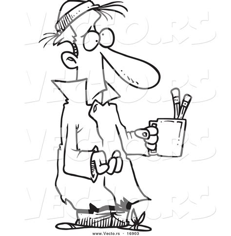 homeless person coloring page vector of a cartoon poor man begging with a pencil cup