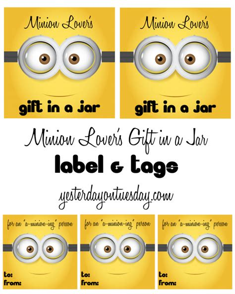 free printable minion christmas gift tags minion lover s gift in a jar yesterday on tuesday