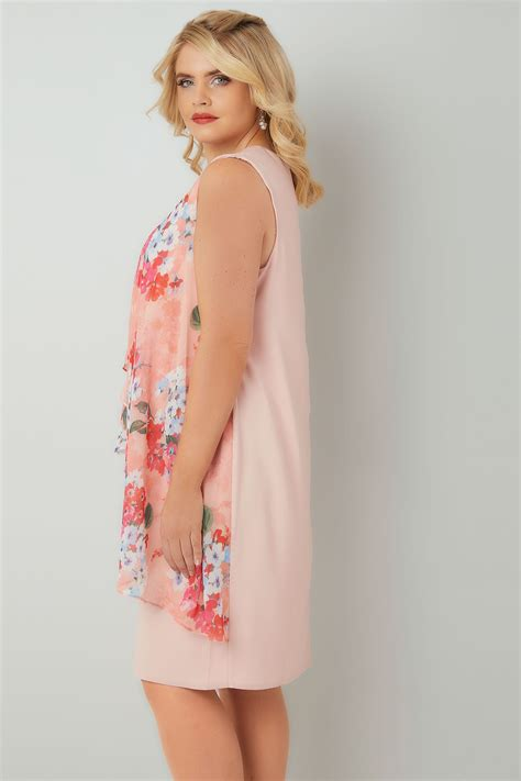 German Email Address Finder Pink Coral Floral Printed Dress With Layered Front Diamante Detail Neckline Plus