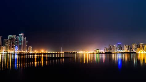 nn city water river night light bokeh wallpaper