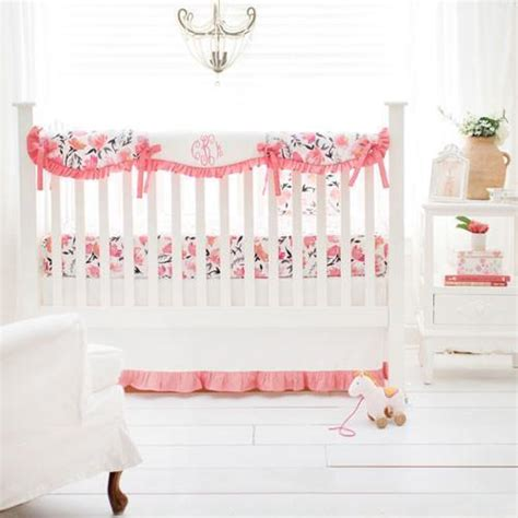 floral rosewater in coral baby bedding set and
