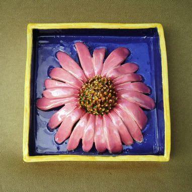 hand  pink daisy delight ceramic shadow box wall decor